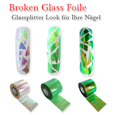 Broken Glass Foile Nails